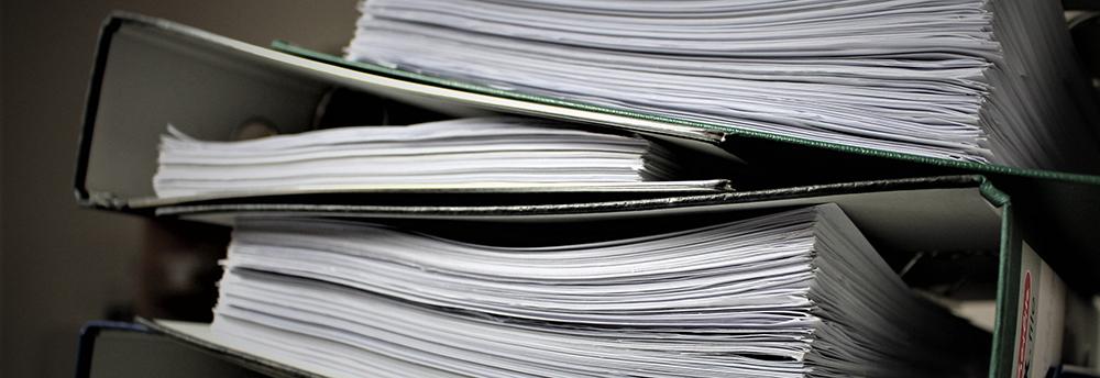 A pile of binders.