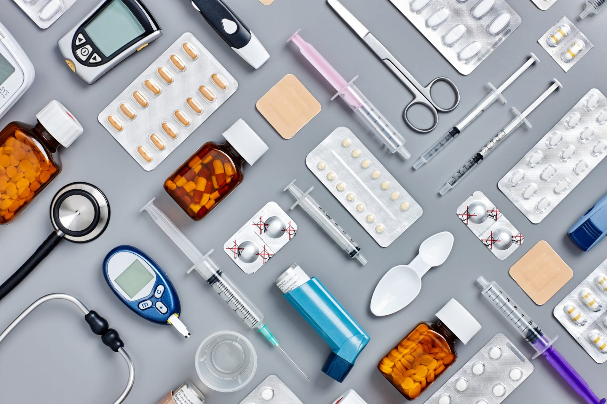 Medical supplies are visualized in an artful, patterned display.