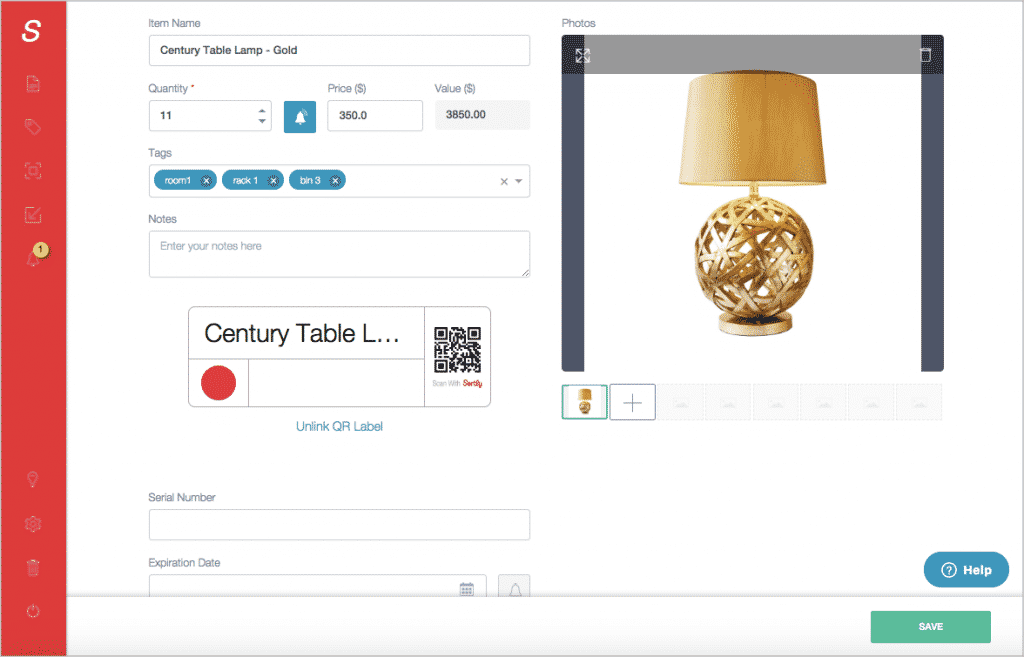 Details about a century table lamp are edited within an inventory management app.