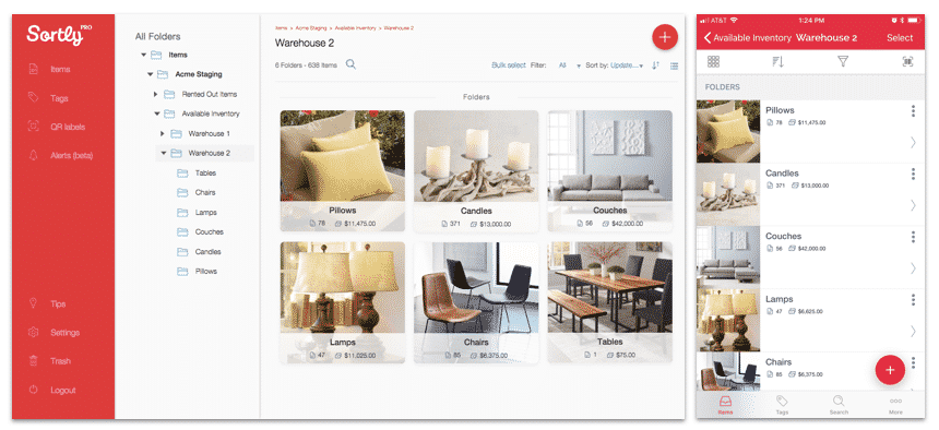 A design inventory management app shows folders of different items, like pillows, candles and couches. Values and quantities are shown.