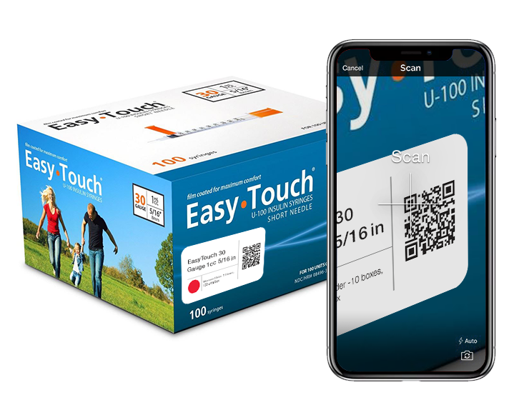 A medical inventory app is used on a smartphone to scan a box of needles via QR code.
