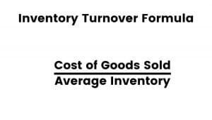 Formula for inventory turnover.