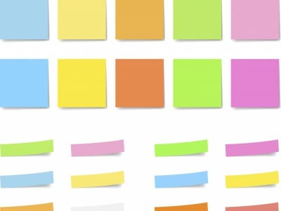 Post-Its are organized by color.